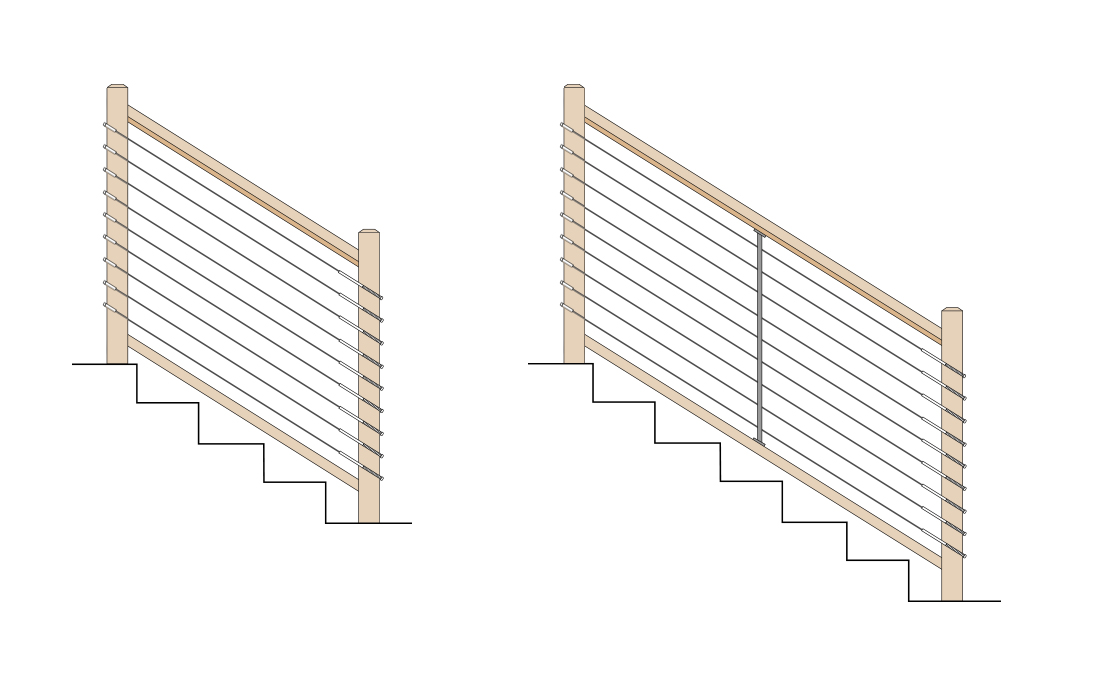 cable rail wood posts_0001_Stair Inside to inside v2